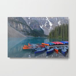 Colorful Canoes at Moraine Lake Metal Print
