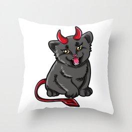 Evil Cat Devil Kitty devilish Present gift Throw Pillow