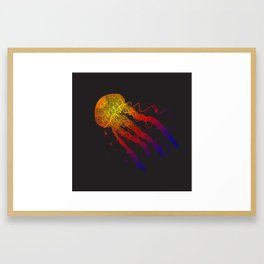 Rainbow Colorful Underwater Jellyfish Framed Art Print