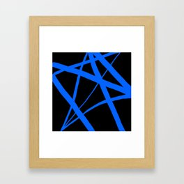 China Blue Star Abstract on Black Framed Art Print
