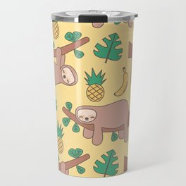 cute cartoon sloth seamless pattern background with exotic leaves, pineapples and bananas Travel Mug