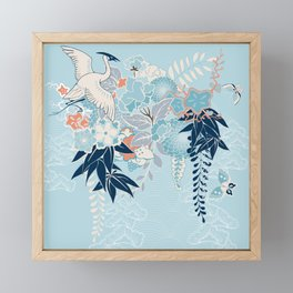 Japanese Kimono Motif With Crane Framed Mini Art Print