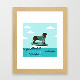 Chocolate Labrador surfing dog breed art Framed Art Print