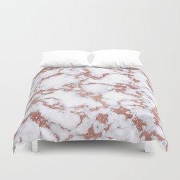Glamorous White Rose Gold Glitter Marble Pattern Duvet Cover
