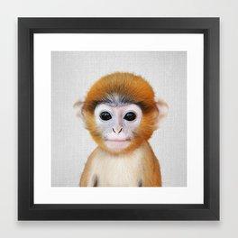 Baby Monkey - Colorful Framed Art Print