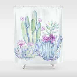 Mixed Cacti Light Blue #society6 #buyart Shower Curtain