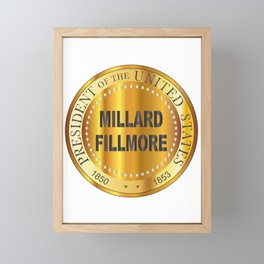 Millard Fillmore Gold Metal Stamp Framed Mini Art Print