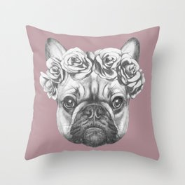 Pink Frenchie Throw Pillow