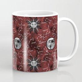 Celestial Star Signs in a Red Galaxy Coffee Mug