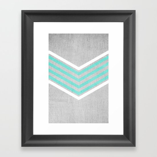 Teal and White Chevron on Silver Grey Wood Framed Art Print