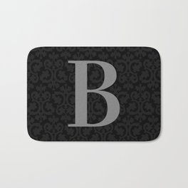 Modern Black Grey Damask Letter B Monogram Bath Mat