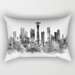 Seattle Black and White Rectangular Pillow