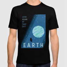 EARTH Space Tourism Travel Poster Mens Fitted Tee MEDIUM Black