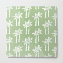 Palm Tree Pattern Nile Green Metal Print