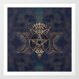 Triple Moon - Triple Goddess Gold and Purples Art Print