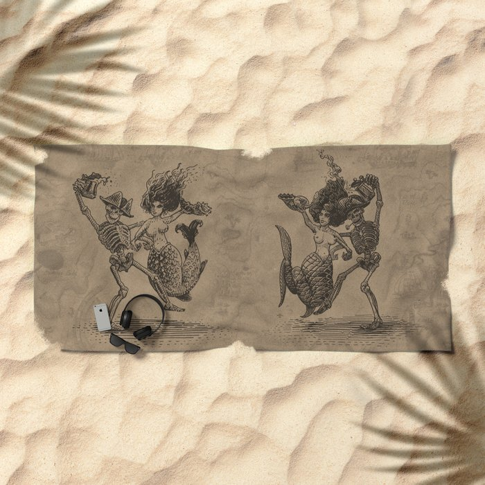 Dancing Mermaid and Skeleton Beach Towel