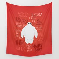 baymax Wall Tapestries featuring Hello, I'm Baymax by Dorothy Leigh
