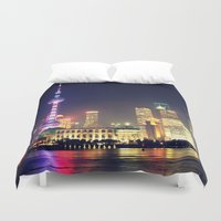 china Duvet Covers featuring Shanghai, China  by Limitless Design