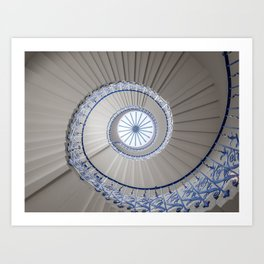 Geometric shapes of a spiral staircase in Greenwich London | Travel photography London Art Print