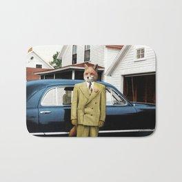 Mr. Fox posing with his new car Bath Mat