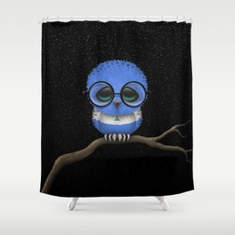 Baby Owl with Glasses and Nicaraguan Flag Shower Curtain