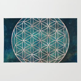 Mandala Flower of Life Rose Gold Space Stars Rug