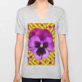 PURPLE STARS & PURPLE PANSIES ORANGE-LIME PATTERNS Unisex V-Neck