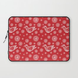 Holiday Bird with Snowflakes and Starbursts Laptop Sleeve