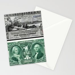 Vintage 1886 US $1 Dollar Bill Silver Certificate - Allegory History Instructing Youth Stationery Cards