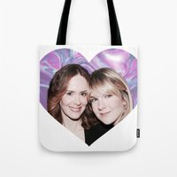 sarah paulson Tote Bags featuring Sarah Paulson and Lily Rabe AHS Freakshow by IrasHorrorStory