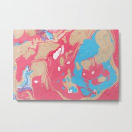 Pink And Blue Marble Pattern Metal Print