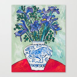 Iris Bouquet in Blue and White Asian Tiger Jar on Green and Coral Canvas Print