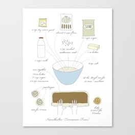Cinnamon Buns - Illustrated Recipe Canvas Print