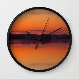 Evening Lakescape Orange Sunset Sky Reflection #decor #society6 #buyart Wall Clock