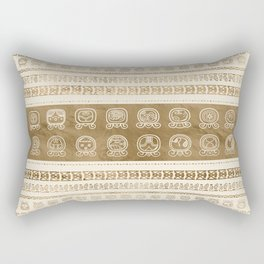 Maya Calendar Glyphs gold on pastel beige Rectangular Pillow