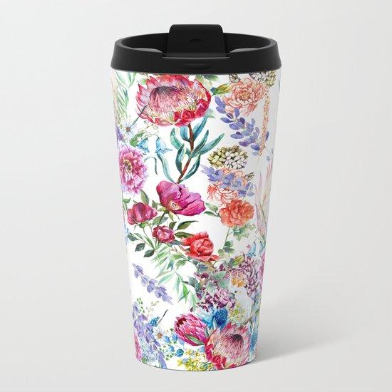 Watercolor Floral Pattern Metal Travel Mug