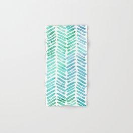 Handpainted Chevron pattern - light green and aqua - stripes #Society6 Hand & Bath Towel