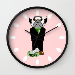 Pug Nope Wall Clock