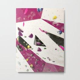Maroon climbing wall boulders bouldering gym abstract geometric print Metal Print