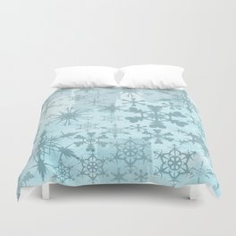 Soft blue faded snowflakes pattern Duvet Cover