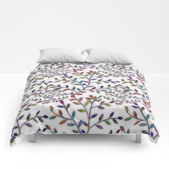Small, Colorful Leaves  Comforters