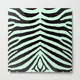 Mint Green Zebra Jungle Stripes Metal Print
