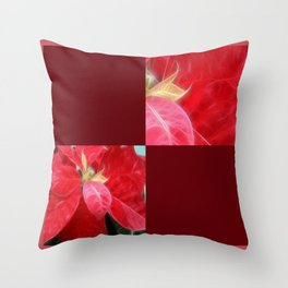 Mottled Red Poinsettia 2 Blank Q10F0 Throw Pillow