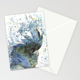 "Watercolor Painting of Picture ""Black Cockatoo"" Stationery Cards"