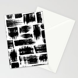 Black brush stripes plaid Stationery Cards