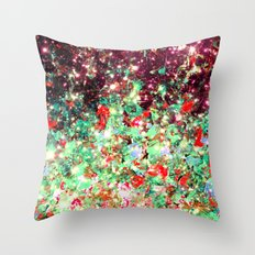 MISTLETOE NEBULA Colorful Festive Christmas Red Green Sparkle Galaxy Ombre Xmas Holidaze Abstract  Throw Pillow
