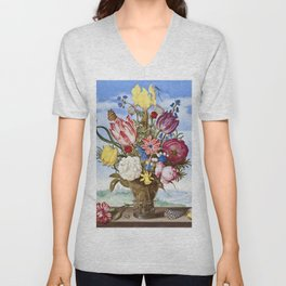 Bouquet of Flowers on a Ledge (1619) in high resolution by Ambrosius Bosschaert Unisex V-Neck