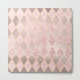 Blush Rose Gold Glitter Argyle Metal Print