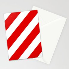 Stripes Diagonal Red & White Stationery Cards