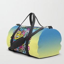 Be Happy doodle monster Duffle Bag
